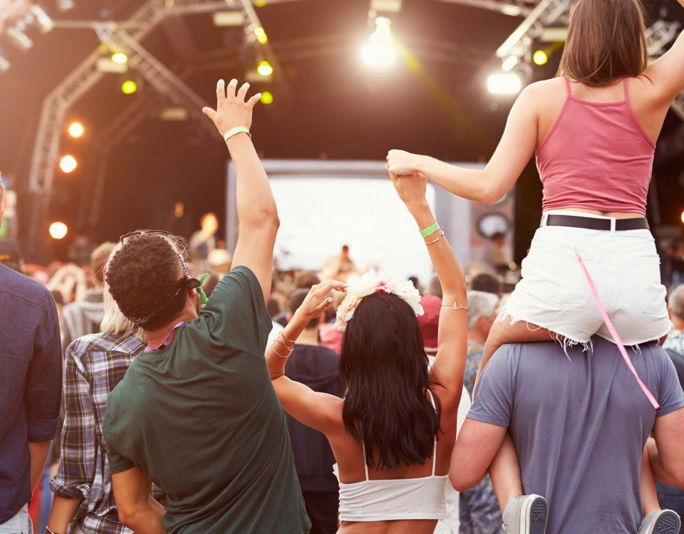 A music festival crowd cheers for a performer.